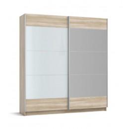 Шкаф-купе BOSS-200 сонома, белое стекло