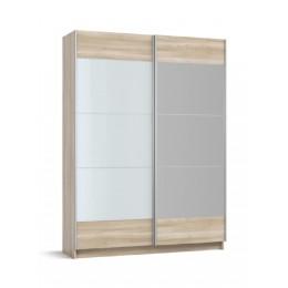 Шкаф-купе BOSS-160 сонома, белое стекло